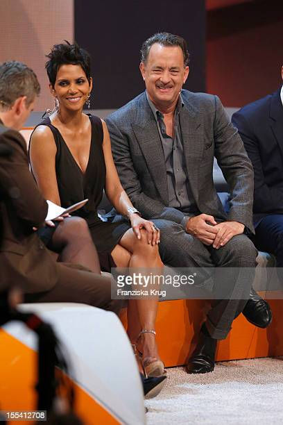 Markus Lanz Halle Berry and Tom Hanks attend the Wetten dass show at the MesseBremen on November 3 2012 in Bremen Germany