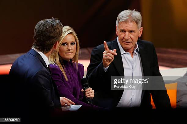 Markus Lanz Helene Fischer and Harrison Ford attend 'Wetten dass' from Bremen at MesseBremen on October 05 2013 in Bremen Germany