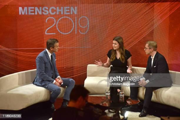 Markus Lanz Luisa Neubauer and Philipp Amthor attend the tv show Menschen 2019 der ZDF Jahresrueckblick on December 16 2019 at Phoenixstudio in...