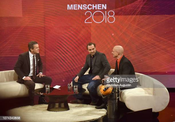 Markus Lanz Mikko Paasi and Nick Vollmar speak on stage during the TV show 'Menschen 2018 der ZDF Jahresrueckblick' at Phoenixhof on December 17 2018...