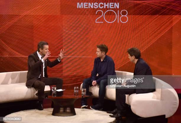 Markus Lanz Robert Habeck and Kevin Kuehnert speak on stage during the TV show 'Menschen 2018 der ZDF Jahresrueckblick' at Phoenixhof on December 17...