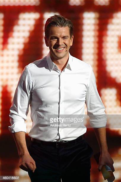 Markus Lanz seen on stage at the last broadcast of the Wetten dass tv show on December 13 2014 in Nuremberg Germany