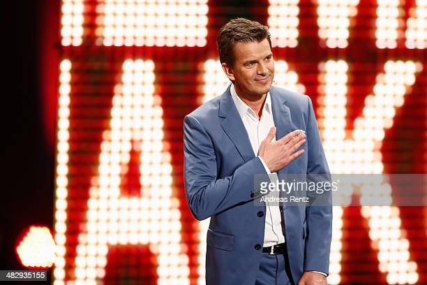 Markus Lanz talks on stage during the 'Wetten dass' tv show on April 5 2014 in Offenburg Germany