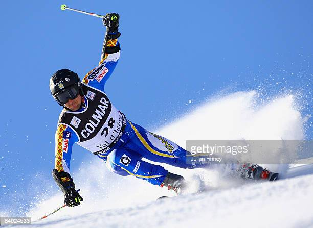 Markus Larsson of Sweden in action during the Men's Giant Slalom at the FIS Skiing World Cup on December 13 2008 in Val d'Isere France
