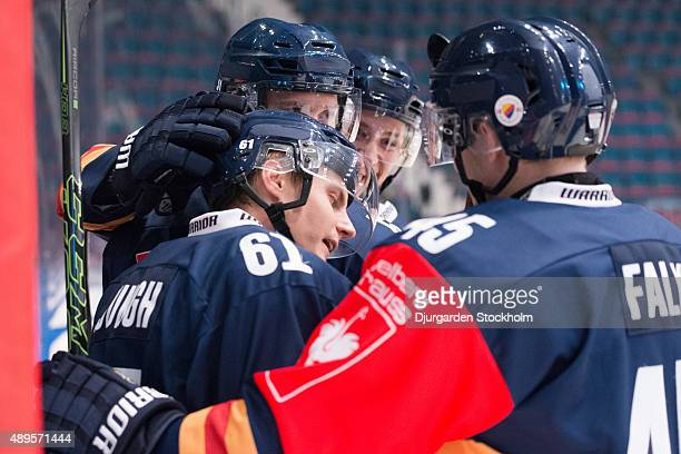 Markus Ljungh of Djurgarden celebrates his 2-0 goal during the Champions Hockey League round of thirty-two game between Djurgarden Stockholm and...