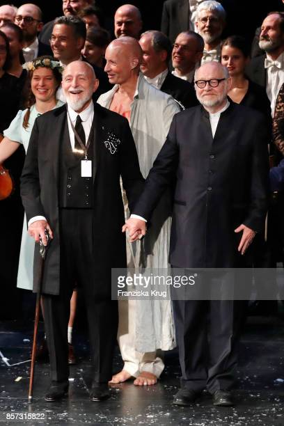 Markus Luepertz German painter graphic artist sculptor and publicist Juergen Flimm outgoing director of Staatsoper and the ensemble of the opening...