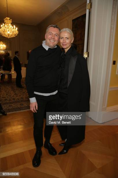 Markus Lupfer and Editor in Chief Vogue Germany Christiane Arp attends 'An Evening of German Fashion' at the German Embassy on February 19 2018 in...