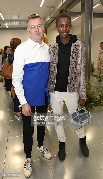 Markus Lupfer and Leomie Anderson attend the Markus Lupfer presentation during London Fashion Week Spring/Summer collections 2017 on September 17...