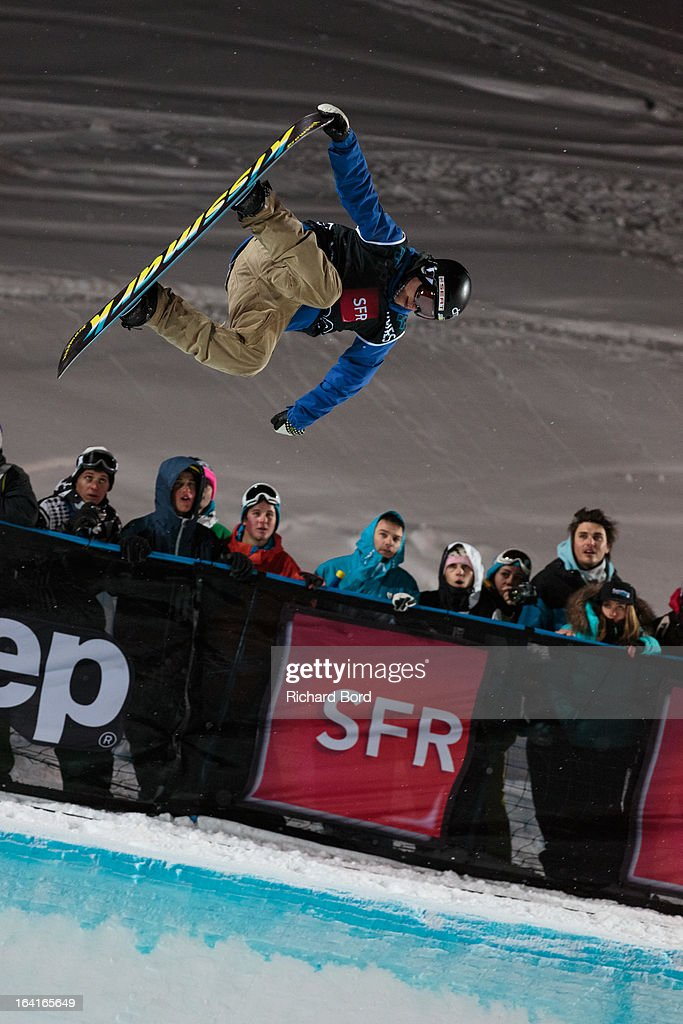 Markus Malin of Finland performs during the Men's Snowboard Superpipe elimination during day three of Winter X Games Europe 2013 on March 20, 2013 in Tignes, France.