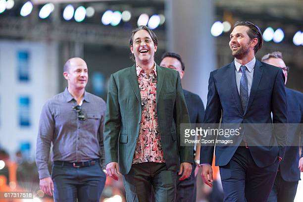 Markus Manninen Jonah Greenberg and Daniel Manwaring walk the Red Carpet event at the World Celebrity ProAm 2016 Mission Hills China Golf Tournament...
