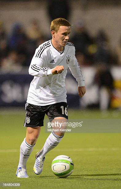 Markus Mendler of Germany runs with the ball during the international friendly match between U20 Switzerland and U20 Germany at Eps Stadium on March...