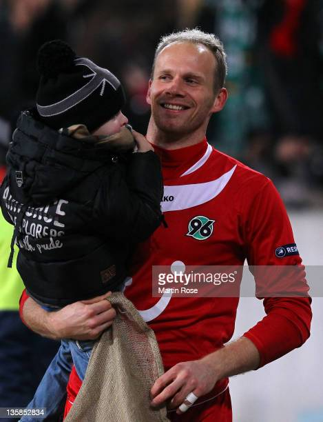 Markus Miller, goalkeeper of Hannover and his son Collin looks on after the UEFA Europa League Group B match between Hannover 96 and FC Vorskla...
