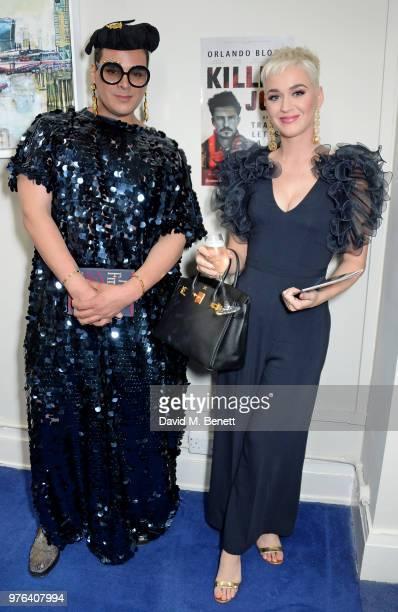 Markus Molinari and Katy Perry attends her third performance of Killer Joe starring Orlando Bloom at the Trafalgar Studios on June 16 2018 in London...