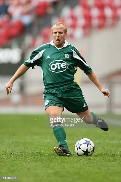 Markus Munch of Panathinaikos in action during the Sony Amsterdam Tournament match between River Plate v Panathinaikos at The Amsterdam Arena on...