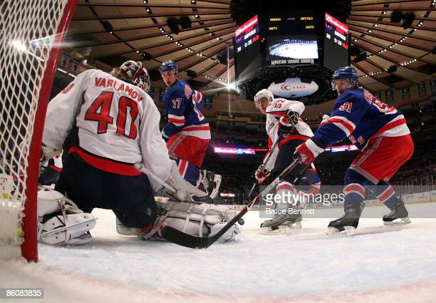 Markus Naslund of the New York Rangers is stopped by Simeon Varlamov of the Washington Capitals during Game Three of the Eastern Conference...