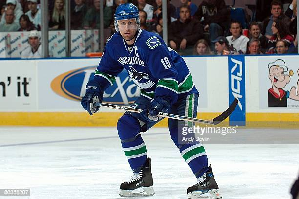 Markus Naslund of the Vancouver Canucks follows the play during a game against the Edmonton Oilers at Rexall Place on March 20 2008 in Edmonton...