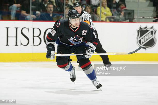 Markus Naslund of the Vancouver Canucks skates against the Colorado Avalanche at General Motors Place on April 15, 2006 in Vancouver, British...