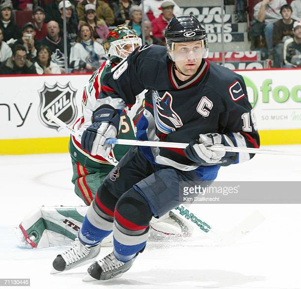Markus Naslund of the Vancouver Canucks skates against the Minnesota Wild at General Motors Place on February 12, 2006 in Vancouver, British...