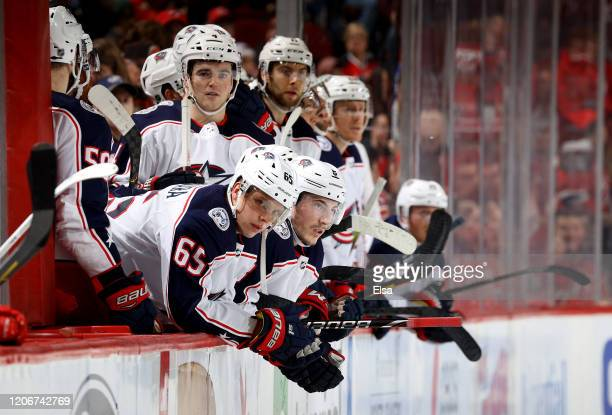 Markus Nutivaara of the Columbus Blue Jackets and the rest of the bench react to the loss to the New Jersey Devils at Prudential Center on February...