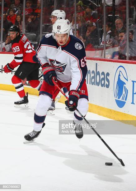 Markus Nutivaara of the Columbus Blue Jackets plays the puck during the game against the New Jersey Devils at Prudential Center on December 8 2017 in...