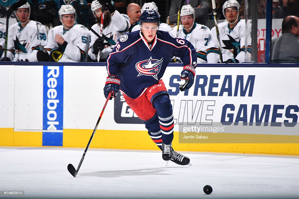Markus Nutivaara #65 of the Columbus Blue Jackets skates after a loose puck during the third period of a game against the San Jose Sharks on October 15, 2016 at Nationwide Arena in Columbus, Ohio. San Jose defeated Columbus 3-2.