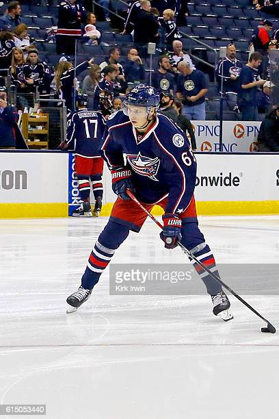 Markus Nutivaara of the Columbus Blue Jackets warms up prior to the start of the game against the Boston Bruins on October 13 2016 at Nationwide...