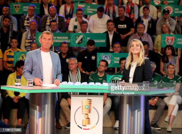 Markus Othmer ARD moderator and Nia Kuenzer former player of Germany look on during the DFB Cup 2019/20 First Round Draw at Deutsches Fussballmuseum...