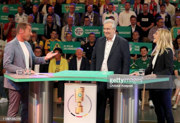 Markus Othmer ARD moderator Peter Frymuth head of DFB Cup Draw and vicepresident of DFB and Nia Kuenzer former player of Germany during the DFB Cup...