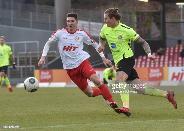 Markus Pazurek of Cologne and Manuel Schaeffler of Wiesbaden fight for the ball during the 3 Liga match between SC Fortuna Koeln and SV Wehen...