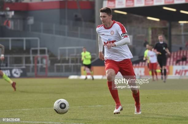 Markus Pazurek of Cologne controls the ball during the 3 Liga match between SC Fortuna Koeln and SV Wehen Wiesbaden at Suedstadion on February 17...