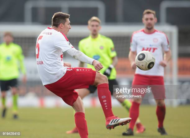 Markus Pazurek of Cologne kicks the ball during the 3 Liga match between SC Fortuna Koeln and SV Wehen Wiesbaden at Suedstadion on February 17 2018...