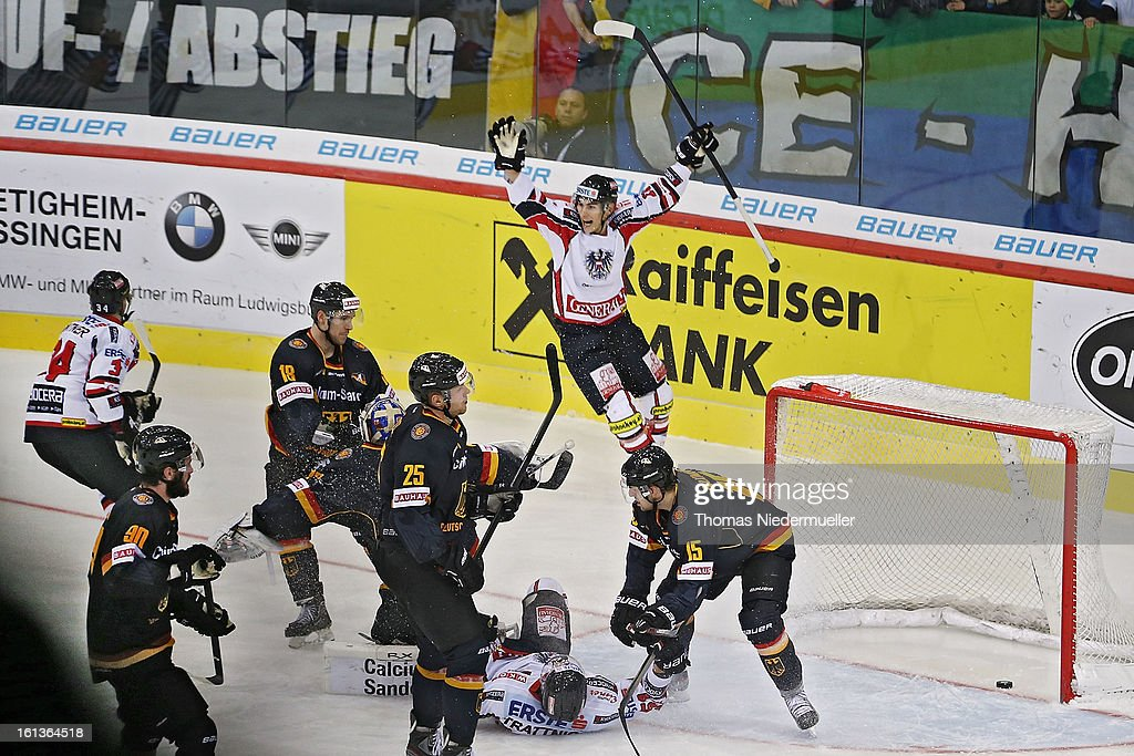 Markus Peintner (L,#34) of Austria scores during the Olympic Icehockey Qualifier match between Germany and Austria on February 10, 2013 in Bietigheim-Bissingen, Germany.