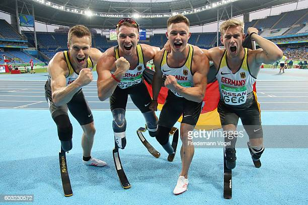Markus Rehm David Behre Felix Streng and Johannes Floors of Germany celebrate after winning the gold medal in the Men's 4x100m T4247 final on day 5...
