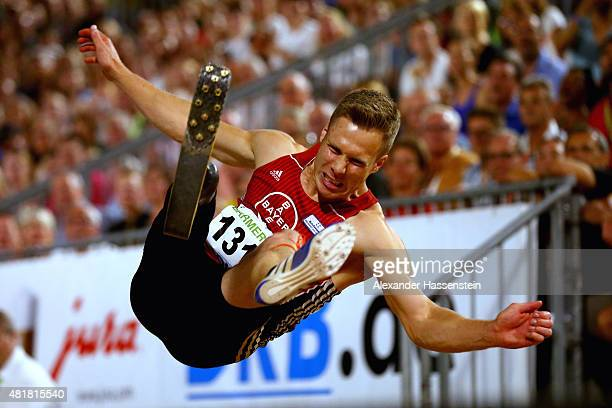 Markus Rehm of Bayer Levekusen competes in the mens long jump finale at Hauptmarkt Nuremberg during day 1 of the German Championships in Athletics on...