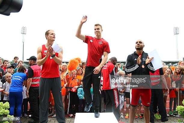 Markus Rehm of Germany celebrates winning the Men's Long Jump during the Ulm German Athletics Championships at the UlmDonaustadion on July 26 2014 in...