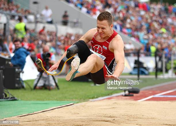 Markus Rehm of Germany competes and wins the Men's Long Jump during the Ulm German Athletics Championships at the UlmDonaustadion on July 26 2014 in...