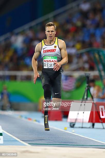 Markus Rehm of Germany competes at the Men's Long Jump T44 Final during day 10 of the Rio 2016 Paralympic Games at the Olympic Stadium on September...