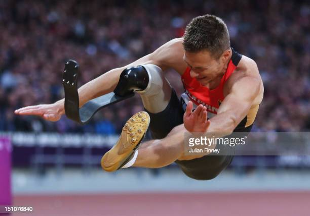 Markus Rehm of Germany competes in the Men's Long Jump F42/44 Final on day 2 of the London 2012 Paralympic Games at Olympic Stadium on August 31 2012...