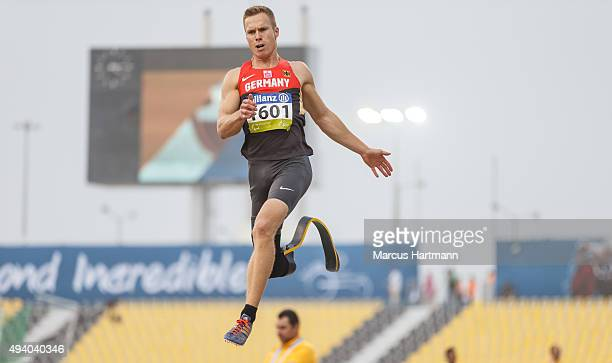 Markus Rehm of Germany competes in the Men's Long Jump T44 during the IPC Athletics World Championships at Suhaim Bin Hamad Stadium on October 23...