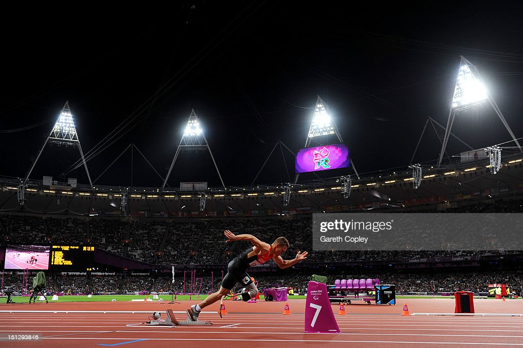 Markus Rehm of Germany starts in the Men's 4x100m relay T42/T46 Final on day 7 of the London 2012 Paralympic Games at Olympic Stadium on September 5, 2012 in London, England.