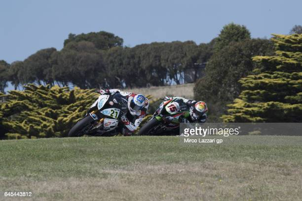 Markus Reiterberger of Germany and Althea BMW Racing Team leads Alex De Angelis of Rep San Marino and Pedercini Racing during the race 2 during round...