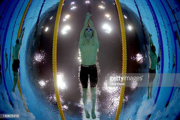 Markus Rogan of Austria competes in the Men's 400m Individual Medley guest final during the British Gas Swimming Championships at the London Aquatics...