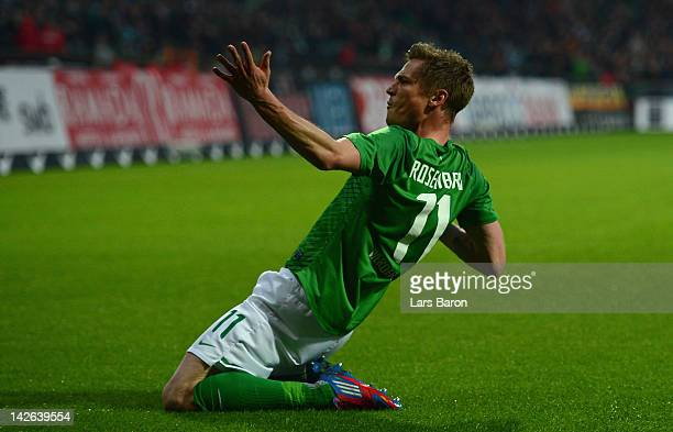 Markus Rosenberg of Bremen celebrates scoring his teams first goal during the Bundesliga match between SV Werder Bremen and Borussia Moenchengladbach...
