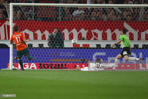 Markus Rosenberg Of Bremen scores his team's first goal against Gotoku Sakai and goalkeeper Sven Ulreich of Stuttgart during the Bundesliga match...