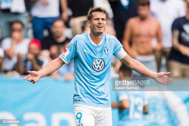 Markus Rosenberg of Malmo FF dejected during the Allsvenskan match between Malmo FF and Jonkopings Sodra IF at Swedbank Stadion on July 22 2017 in...
