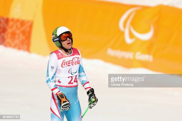 Markus Salcher of Austria reacts after his run in Men's Downhill Standing during day one of the PyeongChang 2018 Paralympic Games on March 10 2018 in...
