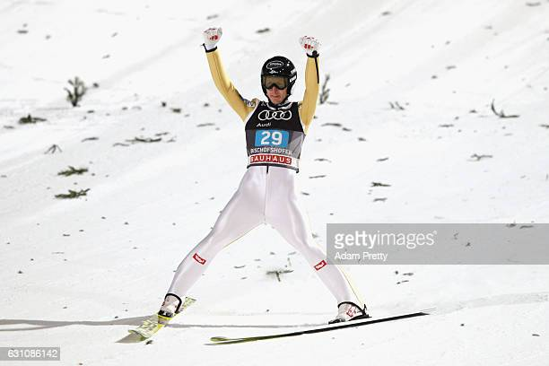 Markus Schiffner of Austra reacts after his final jump on Day 2 of the 65th Four Hills Tournament ski jumping event at PaulAusserleitnerSchanze on...