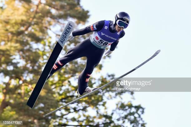 Markus Schiffner of Austria competes during the FIS Grand Prix Skijumping Hinzenbach at on February 6, 2021 in Eferding, Austria.