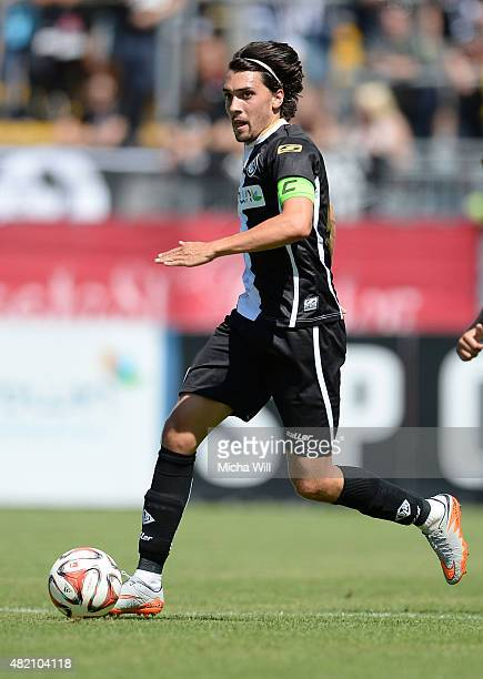 Markus Schwabl of Aalen controls the ball during the Third League match between VfR Aalen and Chemnitzer FC at ScholzArena on July 25 2015 in Aalen...
