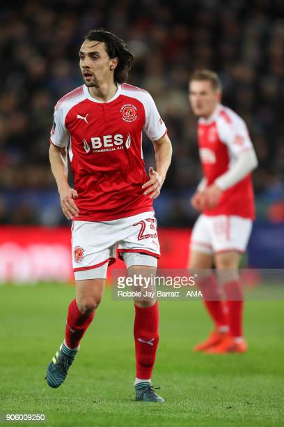 Markus Schwabl of Fleetwood Town during The Emirates FA Cup Third Round Replay match between Leicester City and Fleetwood Town at The King Power...